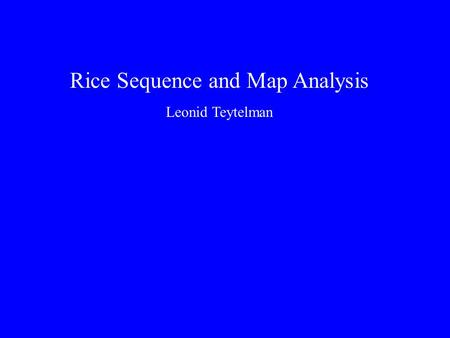 Rice Sequence and Map Analysis Leonid Teytelman. Rice Genome Annotation Sequence Alignments Automation Comparative Maps Genetic Marker Correspondences.