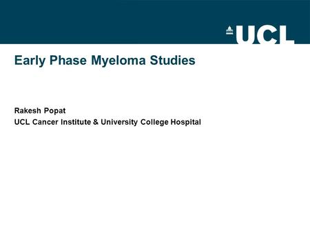 Early Phase Myeloma Studies