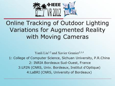 Online Tracking of Outdoor Lighting Variations for Augmented Reality with Moving Cameras Yanli Liu 1,2 and Xavier Granier 2,3,4 1: College of Computer.