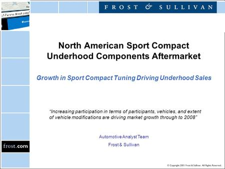 "North American Sport Compact Underhood Components Aftermarket Growth in Sport Compact Tuning Driving Underhood Sales ""Increasing participation in terms."
