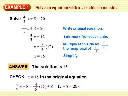 Solve an equation with a variable on one side