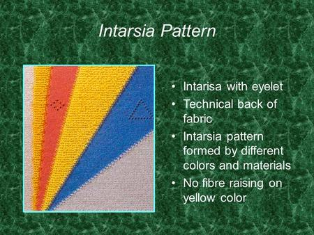 Intarsia Pattern Intarisa with eyelet Technical back of fabric