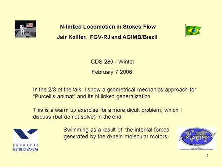 1 N-linked Locomotion in Stokes Flow Jair Koiller, FGV-RJ and AGIMB/Brazil CDS 280 - Winter February 7 2006 In the 2/3 of the talk, I show a geometrical.
