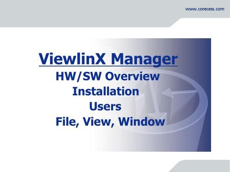 Simply Connecting the World ViewlinX Manager HW/SW Overview Installation Users File, View, Window.