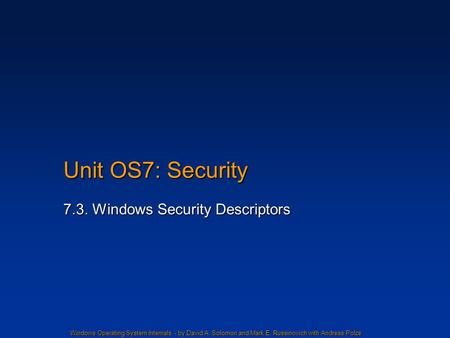 7.3. Windows Security Descriptors