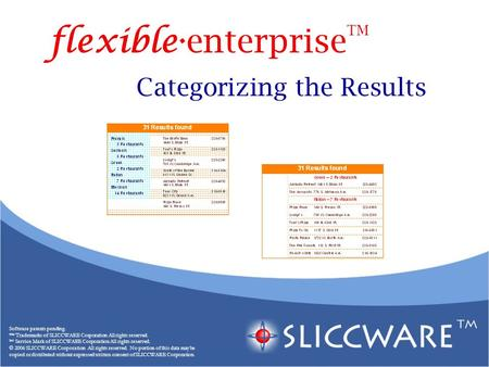 Categorizing the Results Software patents pending. ™ Trademarks of SLICCWARE Corporation All rights reserved. SM Service Mark of SLICCWARE Corporation.