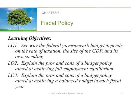 Learning Objectives: Fiscal Policy LO1: See why the federal government's budget depends on the rate of taxation, the size of the GDP, and its own spending.