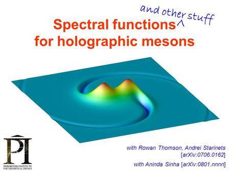Spectral functions for holographic mesons with Rowan Thomson, Andrei Starinets [arXiv:0706.0162] TexPoint fonts used in EMF. Read the TexPoint manual before.