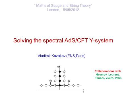 "Solving the spectral AdS/CFT Y-system Vladimir Kazakov (ENS,Paris) "" Maths of Gauge and String Theory"" London, 5/05/2012 Collaborations with Gromov, Leurent,"