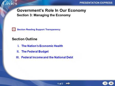 Section Outline 1 of 7 Government's Role In Our Economy Section 3: Managing the Economy I.The Nation's Economic Health II.The Federal Budget III.Federal.