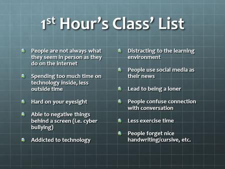 1 st Hour's Class' List People are not always what they seem in person as they do on the internet Spending too much time on technology inside, less outside.