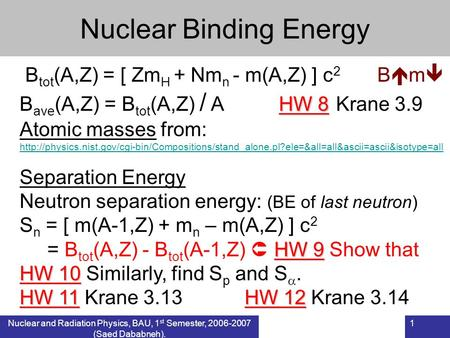Nuclear and Radiation Physics, BAU, 1 st Semester, 2006-2007 (Saed Dababneh). 1 Nuclear Binding Energy B tot (A,Z) = [ Zm H + Nm n - m(A,Z) ] c 2 B  m.