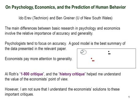 1 On Psychology, Economics, and the Prediction of Human Behavior Ido Erev (Technion) and Ben Greiner (U of New South Wales) The main differences between.