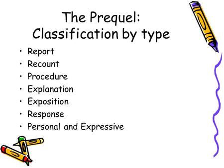 The Prequel: Classification by type Report Recount Procedure Explanation Exposition Response Personal and Expressive.