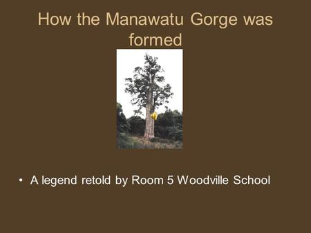 How the Manawatu Gorge was formed A legend retold by Room 5 Woodville School.