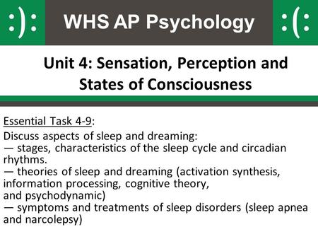 WHS AP Psychology Unit 4: Sensation, Perception and States of Consciousness Essential Task 4-9: Discuss aspects of sleep and dreaming: — stages, characteristics.