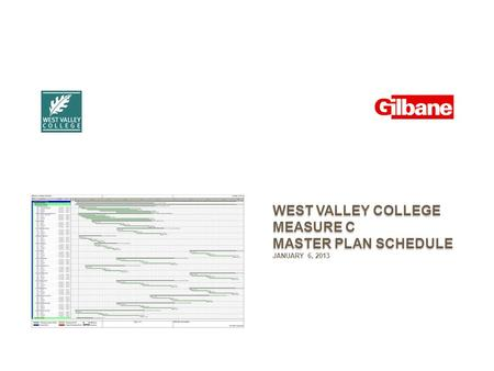 WEST VALLEY COLLEGE MEASURE C MASTER PLAN SCHEDULE JANUARY 6, 2013.