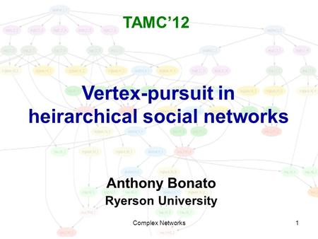 1 Vertex-pursuit in heirarchical social networks Anthony Bonato Ryerson University TAMC'12 Complex Networks.