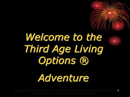 Welcome to the Third Age Living Options ® Adventure Third Age Living Options ® is an ANIBIC Project Developed & Executed by John F. DeBiase, Associate.