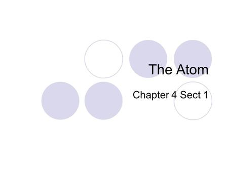 The Atom Chapter 4 Sect 1.