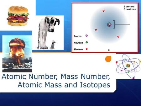 Atomic Number, Mass Number, Atomic Mass and Isotopes.