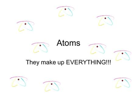 Atoms They make up EVERYTHING!!! This information is REALLY Important for the Rest of your Educational Career!!!!