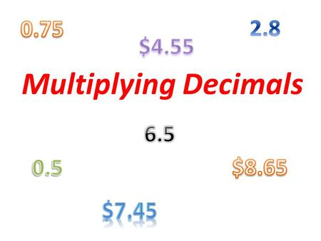 Multiplying Decimals. When would you need to multiply a decimal?