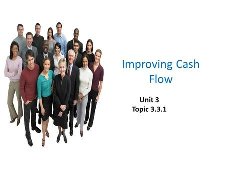 Improving Cash Flow Unit 3 Topic 3.3.1. Improving cash flow To appreciate the purpose of consumer protection laws & apply them to business.