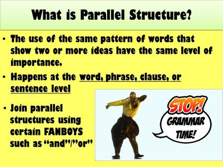 The use of the same pattern of words that show two or more ideas have the same level of importance. Happens at the word, phrase, clause, or sentence level.