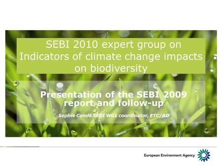 SEBI 2010 expert group on Indicators of climate change impacts on biodiversity Presentation of the SEBI 2009 report and follow-up Sophie Condé SEBI WG1.