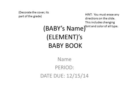 (BABY's Name) (ELEMENT)'s BABY BOOK