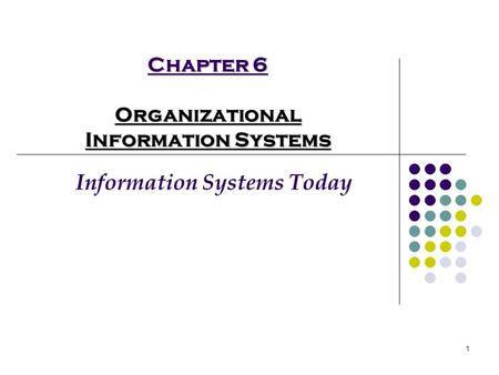 1 Chapter 6 Organizational Information Systems Information Systems Today.
