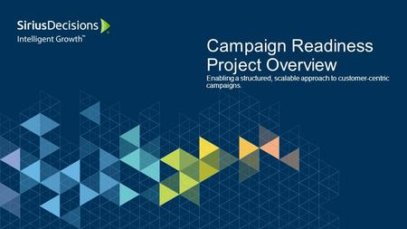 Campaign Readiness Project Overview Enabling a structured, scalable approach to customer-centric campaigns.