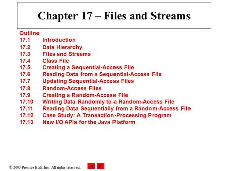  2003 Prentice Hall, Inc. All rights reserved. Chapter 17 – Files and Streams Outline 17.1 Introduction 17.2 Data Hierarchy 17.3 Files and Streams 17.4.