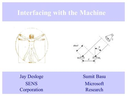 Interfacing with the Machine Jay Desloge SENS Corporation Sumit Basu Microsoft Research.