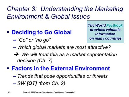 Copyright 2009 Pearson Education, Inc. Publishing as Prentice Hall 3-1 Chapter 3: Understanding the Marketing Environment & Global Issues  Deciding to.