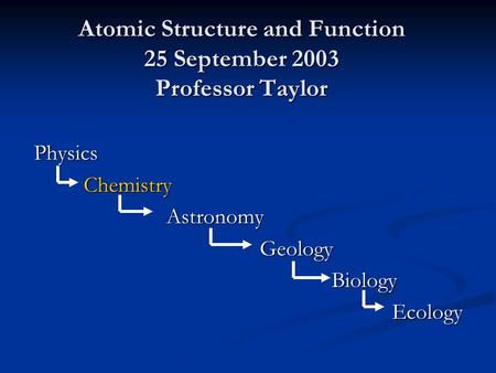Atomic Structure and Function 25 September 2003 Professor Taylor PhysicsChemistry Astronomy Astronomy Geology GeologyBiology Ecology Ecology.