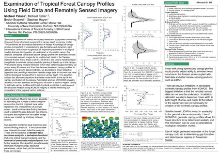 Examination of Tropical Forest Canopy Profiles Using Field Data and Remotely Sensed Imagery Michael Palace 1, Michael Keller 1,2, Bobby Braswell 1, Stephen.