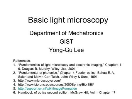 Basic light microscopy