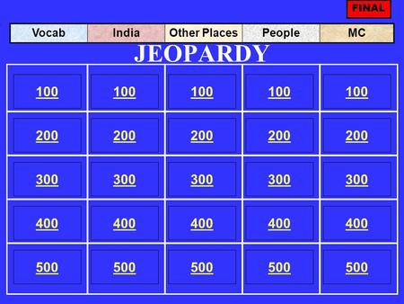 JEOPARDY 100 200 100 200 300 400 500 300 400 500 100 200 300 400 500 100 200 300 400 500 100 200 300 400 500 VocabIndiaOther PlacesPeopleMC FINAL.