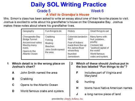 Daily SOL Writing Practice Grade 5Week 6 provided by Simply Achieve, Inc. A Visit to Grandpa's House Mrs. Simon's class has been asked to write an essay.