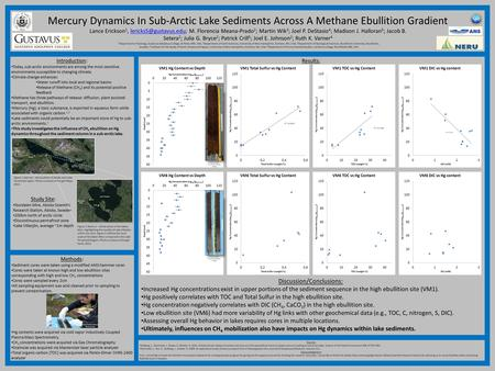 Mercury Dynamics In Sub-Arctic Lake Sediments Across A Methane Ebullition Gradient Lance Erickson 1, M. Florencia Meana-Prado 2.
