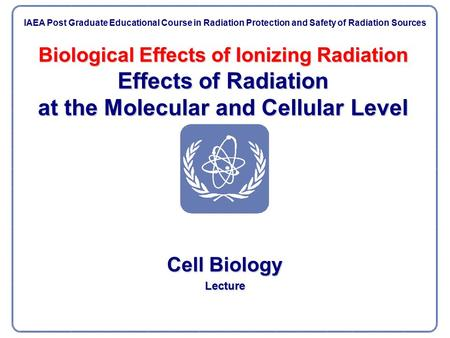 Biological Effects of Ionizing Radiation Effects of Radiation at the Molecular and Cellular Level Cell Biology Lecture IAEA Post Graduate Educational Course.