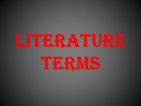 Literature Terms. STANZA A group of lines within a poem. A stanza is like a paragraph. Poem/ Poetry A type of literature in which the author uses his.