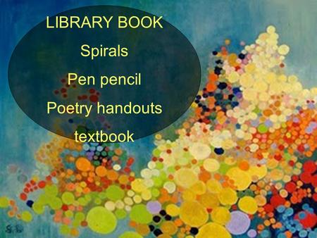 LIBRARY BOOK Spirals Pen pencil Poetry handouts textbook.