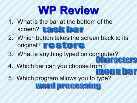 WP Review 1.What is the bar at the bottom of the screen? 2.Which button takes the screen back to its original? 3.What is anything typed on computer? 4.