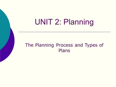 The Planning Process and Types of Plans