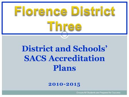 2010-2015 Ensure All Students are Prepared for Success District and Schools' SACS Accreditation Plans.