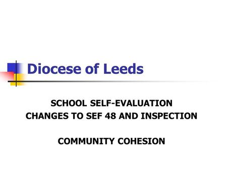 Diocese of Leeds SCHOOL SELF-EVALUATION CHANGES TO SEF 48 AND INSPECTION COMMUNITY COHESION.