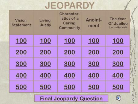 100 JEOPARDY 300 400 500 Vision Statement Final Jeopardy Question Living Justly The Year Of Jubilee (not on the test) Anoint- ment Character- istics of.